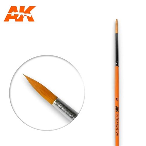 AK607 8 ROUND BRUSH. SYNTHETIC