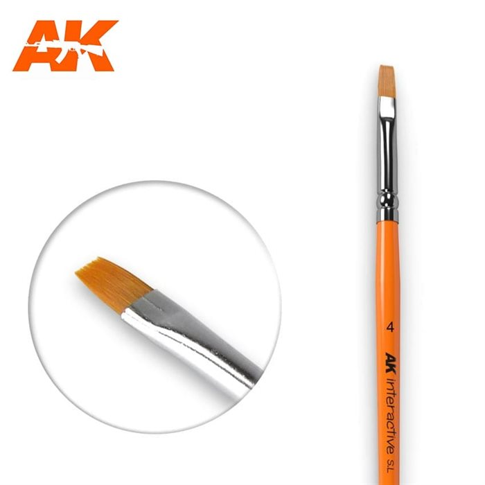 AK610 FLAT BRUSHES 4 SYNTHETIC