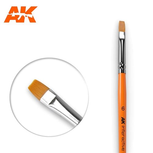 AK611 FLAT BRUSHES 6 SYNTHETIC